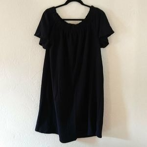 Caslon Black Off Shoulder Slub Knit Dress